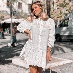 Zara linen blend embroidered lace mini dress